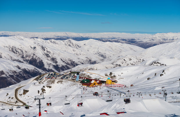 Cardrona Mountain Resort Panorama with Lift in foreground