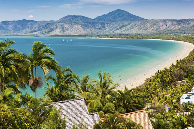 Port Douglas beach and ocean on sunny day, Queensland