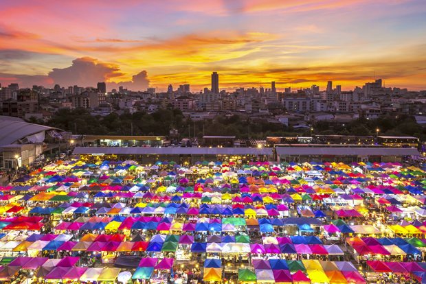 Multi-colored tents /Sales of second-hand market in Bangkok